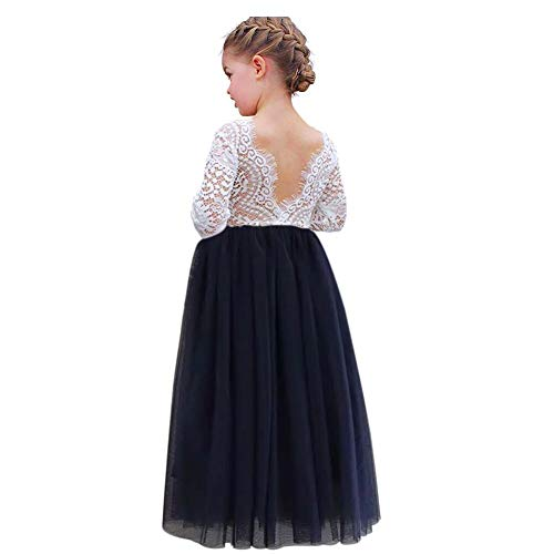 luckymily Girls Lace Tulle Dress Backless Long Sleeve Kids Tutu Pageant Dress A Line Party Princess Navy]()