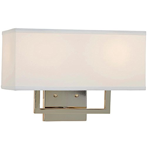 Modern Contemporary Wall Shade Sconce | Rectangular Light with Square Lines |  Lighting with LED Bulbs Included | Polished Nickel