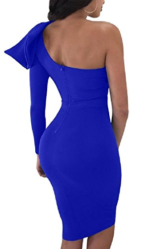 Shoulder 1 Out Jaycargogo Summer Sexy Hollow Womens Party One Solid Midi Dress xPOPtn