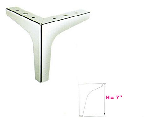 7 Height Straight Metal Chrome Sofa Legs Replacement Parts Set Of