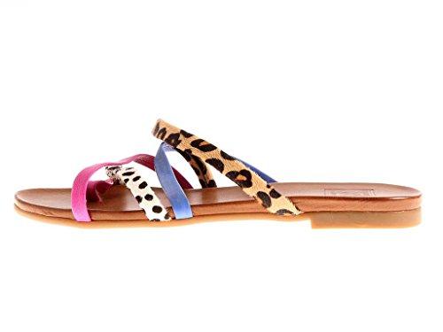 kimkay mule en cuir bride interorteils Mule Lanière Cuir Chaussures dété 4508