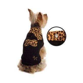 New York Dog Leopard Print Scarf Neck Sweater – Black, Small, My Pet Supplies