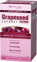 Vitamin World Grape Seed Extract Capsules (Resveratol), 100 mg, 200 Capsules