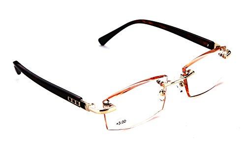 SOOLALA Diamond Cut Edge Gradient Tea Tinted Lens Leopard Legs Rimless Reading Glasses, x3.0