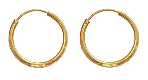 Satfale Jewellers Latest Indian Round Shape Design Solid 22K Yellow Fine Gold Plain Hoop Earrings