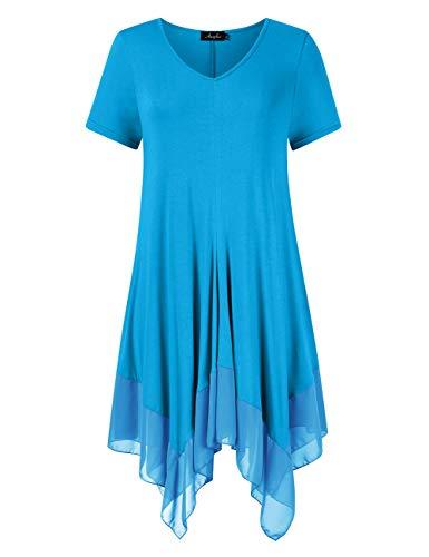 (AMZ PLUS Womens Plus Size Irregular Hem Short Sleeve Loose Shirt Dress Top (XL, Light Blue#))