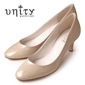 [ユニティ] LBGE,ライトベージュエナメル 24.5 エナメル パンプス ベージュ 本革 靴 7075