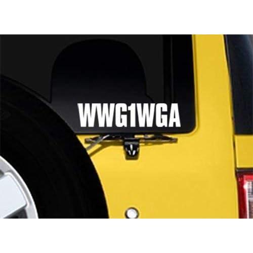 Cheap #WWG1WGA White Vinyl Letters Sticker (Window Decal Hashtag q qanon Where we go one)
