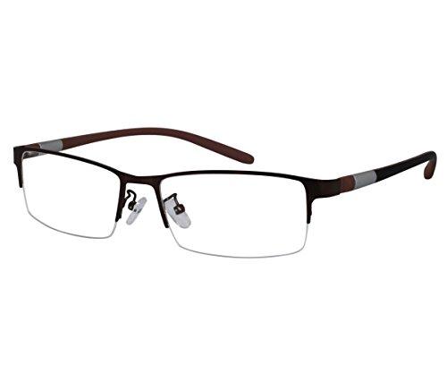 EyeBuyExpress Bifocal Reading Glasses Mens Womens Shield Brown Half Rim High Quality