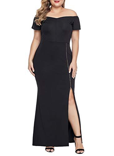- Diukia Women's Plus Size Elegant Lace Solid Long Short Sleeve Sexy Evening Party Bodycon Maxi Dress(XL-5XL)
