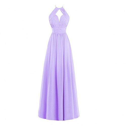Lilac Evening A Dresses Chiffon AK Beauty Gown Long Bridesmaid Women's line Halter OwxPqU6