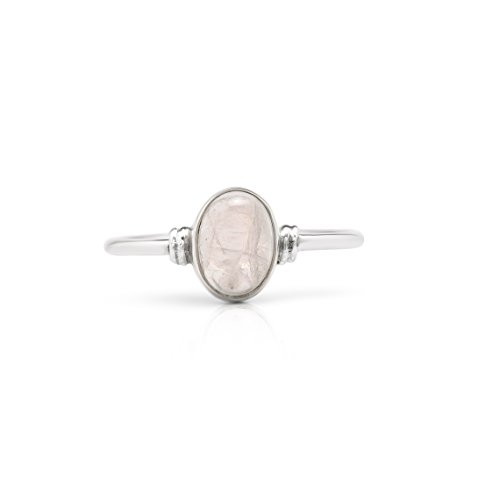 Koral Jewelry Oval Moonstone Delicate Ring 925 Sterling Silver Vintage Boho Chic (7)