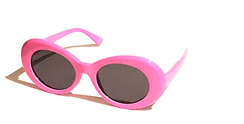BOLD Retro Oval MOD Thick Frame Clout Goggles Round Lens Sunglasses (Pink, - Trendy Glasses