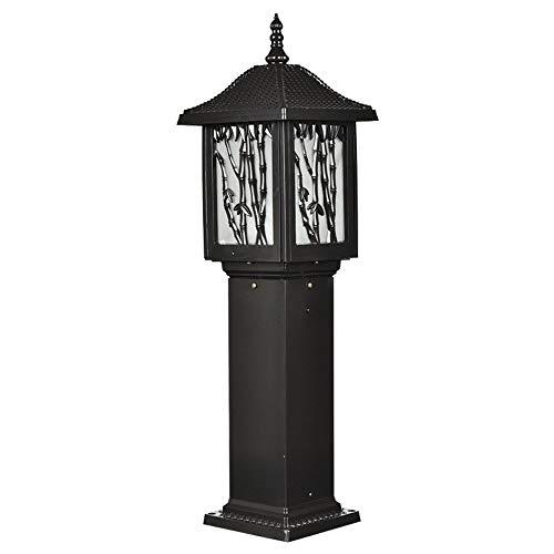 (DFEIL Outdoor Waterproof IP56 Lawn Column Light Traditional Square Villa Garden Bollard Pillar Lamp Bamboo Garden Landscape Retro Fence Porch Stigma Post Lantern E27)