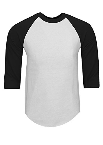 Base Raglan T-shirt (RA0102_5X Baseball T Shirts Raglan 3/4 Sleeves Tee Cotton Jersey S-5XL White/Black 5X)