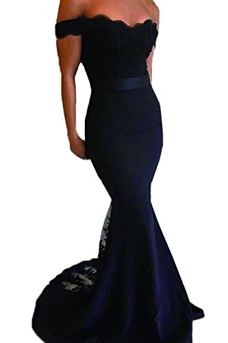 Honey Qiao Black Lace Mermaid Bridesmaid Dresses Long Prom Party Gowns