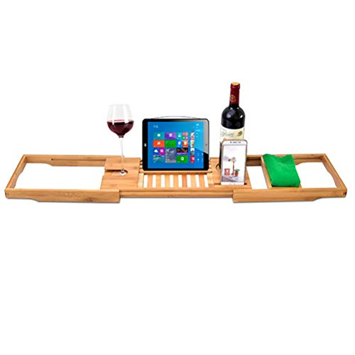 Other Bath Tray Bamboo Bathtub Caddy with Extending Sides, Mug Wineglass Smartphone Holder, Metal Frame Book Pad Tablet Holder, Detachable Sliding Tray, Non-Slip, 2724655674222, Brown        Amazon imported products in Multan