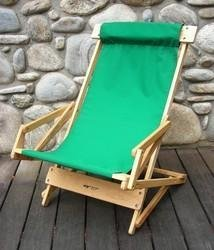 Sling Wood Recliner Beach Chair Fabric: Forest Green
