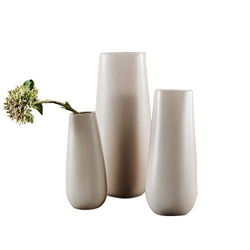 Pure.Lifestyle Flat Design Decoration Flower Vase Porcelain Crafts Wedding Welcome Home Warming Birthday Presents, Square, Beige Ceramic, Gray