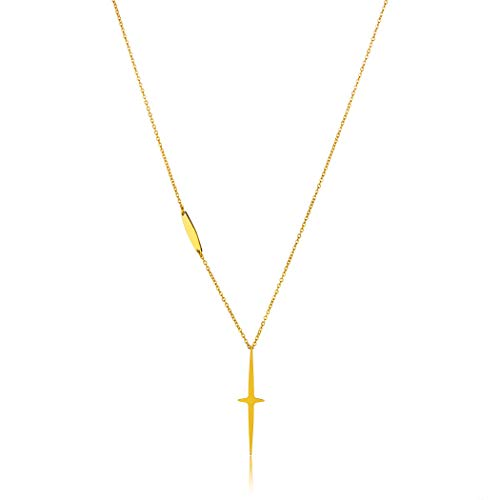 ELYA Jewelry Womens Gold Plated Polished Cross Stainless Steel Y Shaped Necklace, One ()