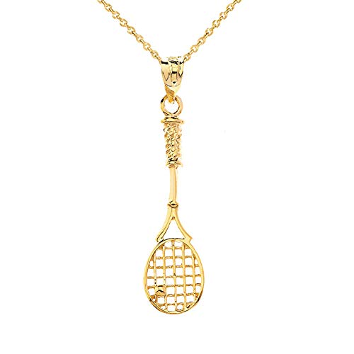 (CaliRoseJewelry 14k Tennis Racquet Charm Pendant Necklace in Yellow Gold, 16