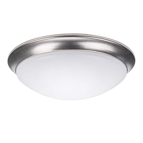 Mount Dome Light - OSTWIN 11 Inch LED Dimmable Flush Mount Ceiling Light Fixture White Round Dome Acrylic Shade 20 Watt (120W Repl) 5000K Daylight 1500 Lm, Nickel Finish, ETL and ENERGY STAR listed
