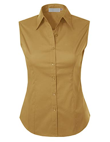 MAYSIX APPAREL Plus Size Womens Sleeveless Stretchy Button Down Collar Office Formal Shirt Blouse Mustard 3XL