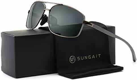 SUNGAIT Ultra Lightweight Rectangular Polarized Sunglasses 100% UV protection