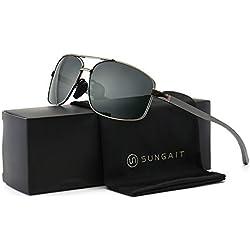SUNGAIT Ultra Lightweight Rectangular Polarized Sunglasses 100% UV protection (Gunmetal Frame Gray Lens, 62) Metal Frame 2458 QKH