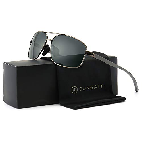 SUNGAIT Ultra Lightweight Rectangular Polarized Sunglasses 100% UV protection (Gunmetal Frame Gray Lens, 62) Metal Frame 2458 QKH (Arms Mens Sunglasses)
