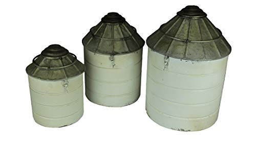 (Things2Die4 Vintage Farmhouse Tin Silo Canister Set of 3 )