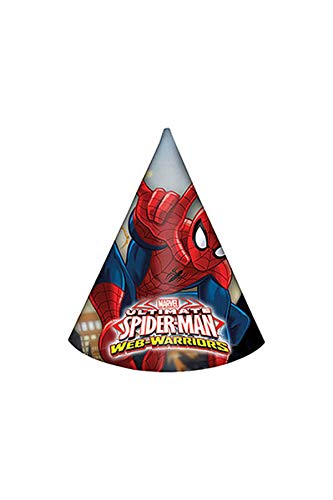 Procos 85166Paper Hats-Ultimate Spider Man Web Warriors, 6Pieces, Red/Blue/Blue