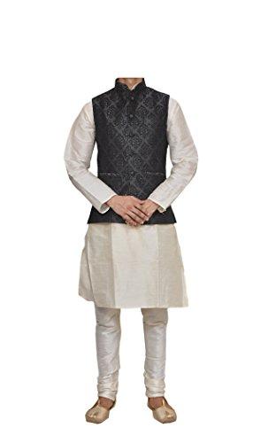 (Mag Men's Cream Matching silk Kurta Churidhar With Black 1st Waistcoat (RG-10671-42))