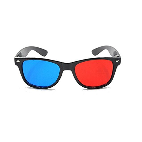AThumb Blue and Red 3D Eyeglasses Cyan Anaglyph Simple style 3D Glasses Extra Upgrade Style To Fit Over Prescription Glasses for Movies Games