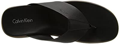 Calvin Klein Men's Deano Stud-Embossed Leather Thong Sandal