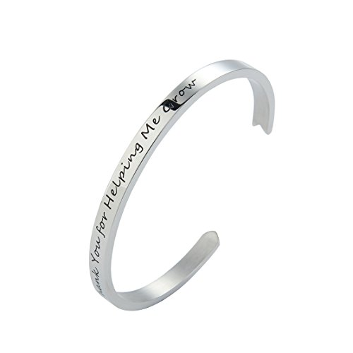 Meibai Teachers Bracelet Stainless Steel Arrow Cuff Bangle Engraved Words for Teacher Education Gift (Silver-Thank You For Helping Me (Thanks For Helping Me Grow)
