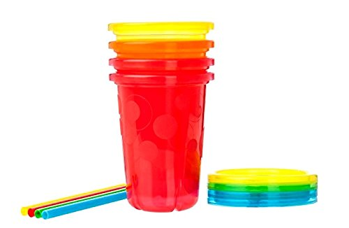 Fountain Drink Costume (Baby Toddler Feeding Kids Drink Go Travel Colorful Take Toss Straws Cup 10 oz 4 pcs.)