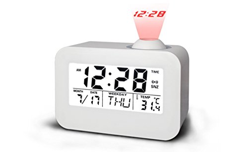 Itemship Innovative LED Calender Voice Timekeeping Luminous Projection Clock (White) by Itemship