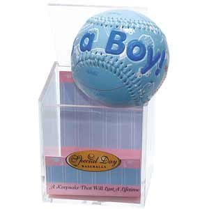 """IT'S A BOY"" Baseball -BIRTH ANNOUNCEMENT/Keepsake/GIFT/BLUE - INCLUDES DISPLAY BOX/Shower/CHRISTENING/NEW BABY GIFT from K&G"