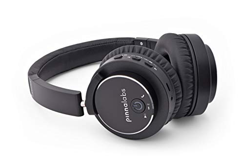 Pinna Labs Laguna Active Noise Cancelling (ANC), Adult/Teen Safe Volume Limit Mode, Premium Bluetooth On-Ear Headphone - 24H Playtime, Built-in Microphone, Full Swivel Earcups, 40mm Drivers - Black
