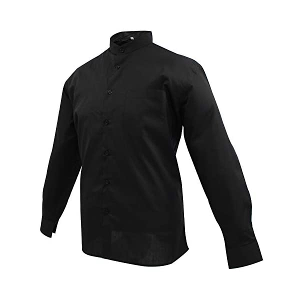 MISEMIYA Hombre Cuello Mao Camisa Basica Uniformes Camarero Caballero Trabajo 2