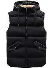 Men's Heavyweight Down Vest Fall Winter Thickned Insulated Sleeveless Puffer Coat Jackets Full Zip Warm Vest