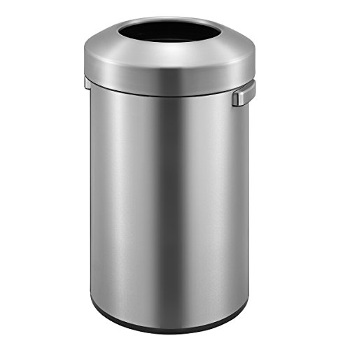 EKO Urban Commercial 90 Liter / 23.7 Gallon Open Top Trash Can, Brushed Stainless Steel Finish - Open Top Receptacle Finish