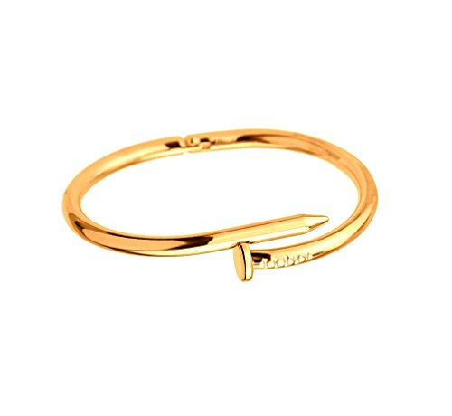 Designer Inspired Titanium Steel Nail Cuff Bangle Bracelet (Yellow ()