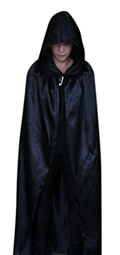 ICSTH Womens Witch Costume Satin Cape Holloween Party Costume Cloak Black