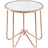 ComfortScape Contemporary Glas Top Coffee End Table, Frosted Glass & Rose Gold