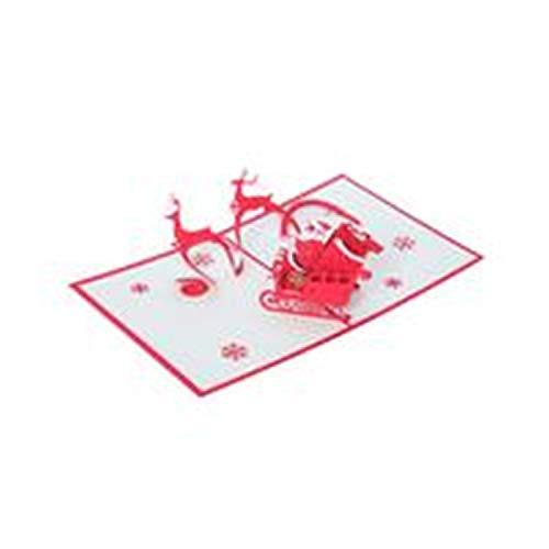 (Yakke XMAS Decoration 1Pcs 3D Pop Up Greeting Cards with Envelope Laser Cut Post Card for Birthday Christmas Valentine' Day Par)