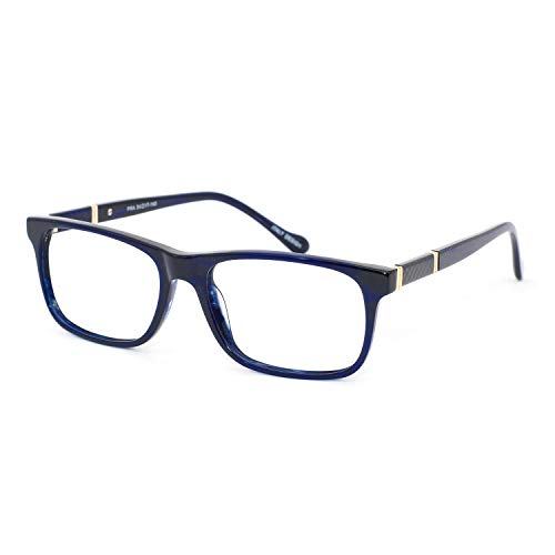OCCI CHIARI Mens Rectangle Stylish Eyewear Frame Metal Decoration Clear Lens Glasses(Blue,54)