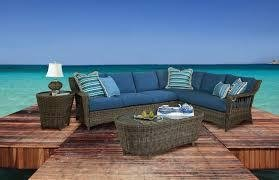 St. John 5-Piece Wicker Sectional-Right Set by South Sea Rattan Jasmine Antique Stripe