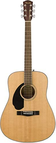 Fender CD-60S Solid Top Dreadnought Acoustic Guitar, Left Handed - Natural Bundle with Hard Case, Tuner, Strap, Strings, Picks, Austin Bazaar Instructional DVD, and Polishing Cloth